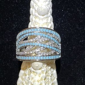 Women's turquoise and sapphire ring